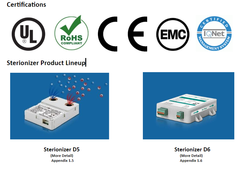 Certifications of Sterionizer